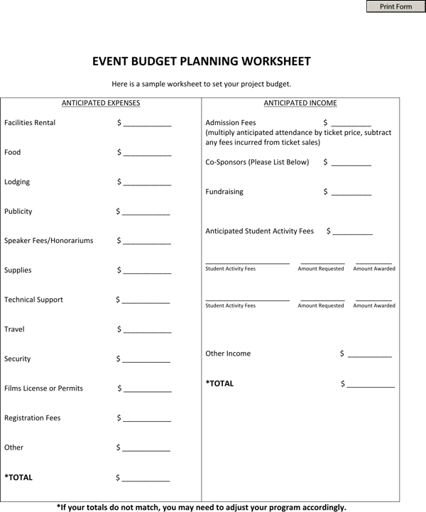 download event planning worksheet template for free