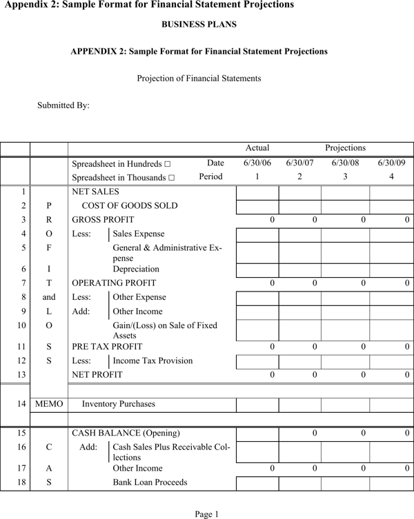Download financial statement projection1 for free page 5 for Projected financial statements template