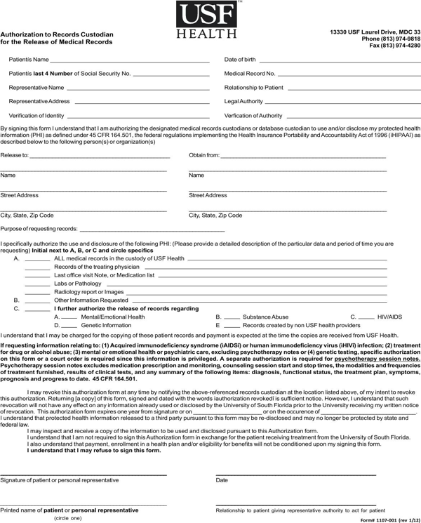 download florida medical records release form for free formtemplate
