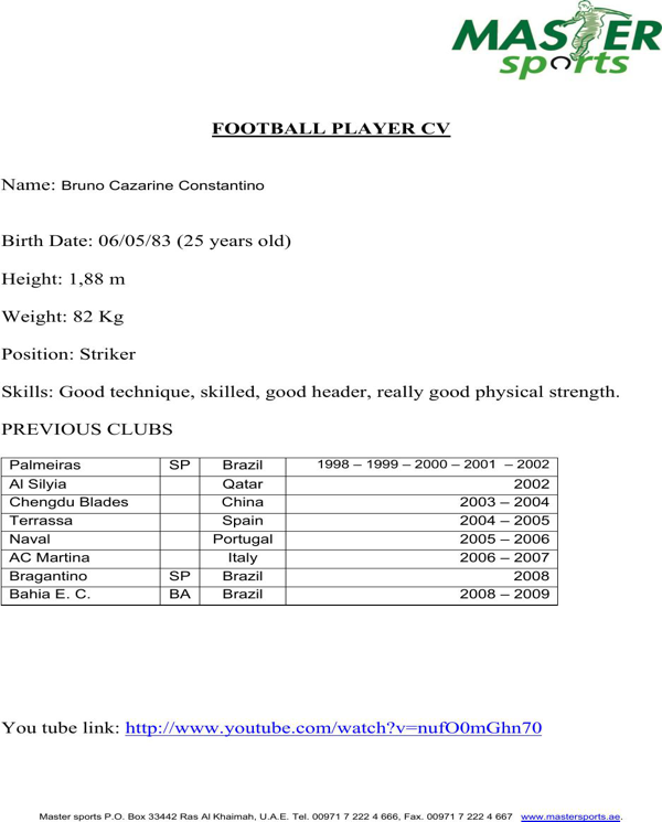 download football player cv for free