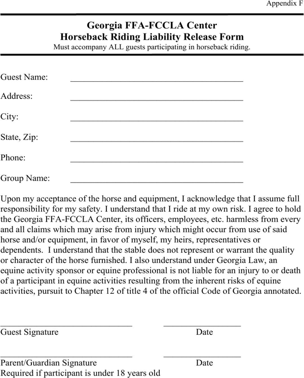 download georgia horseback riding liability release form