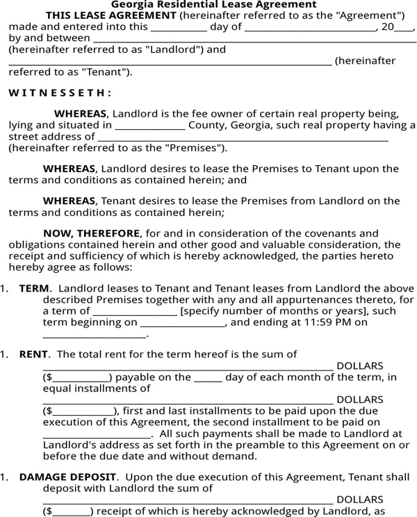 Download Georgia Residential Lease Agreement For Free