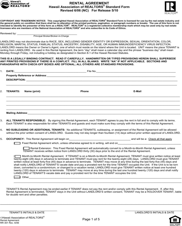 Download Hawaii Residential Lease Agreement Form For Free