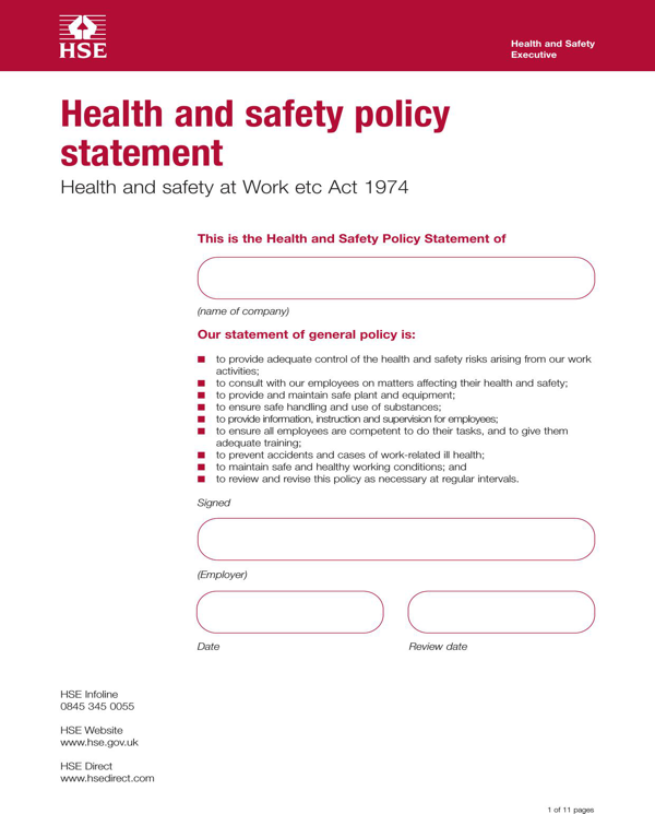 Download Health and Safety Policy