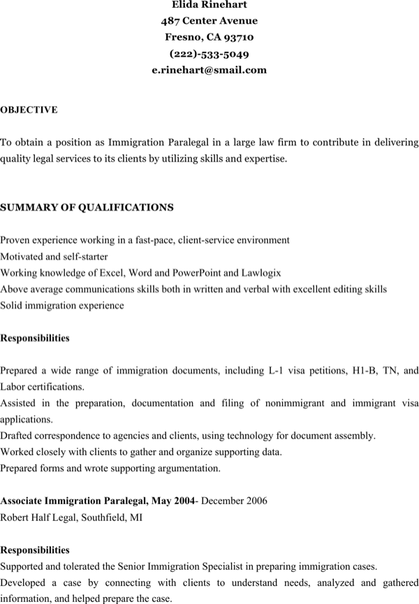 download immigration paralegal resume for free