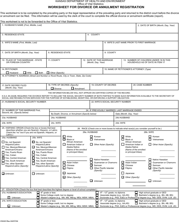 download kansas worksheet for divorce or annulment