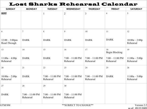 download lost sharks rehearsal schedule template word doc
