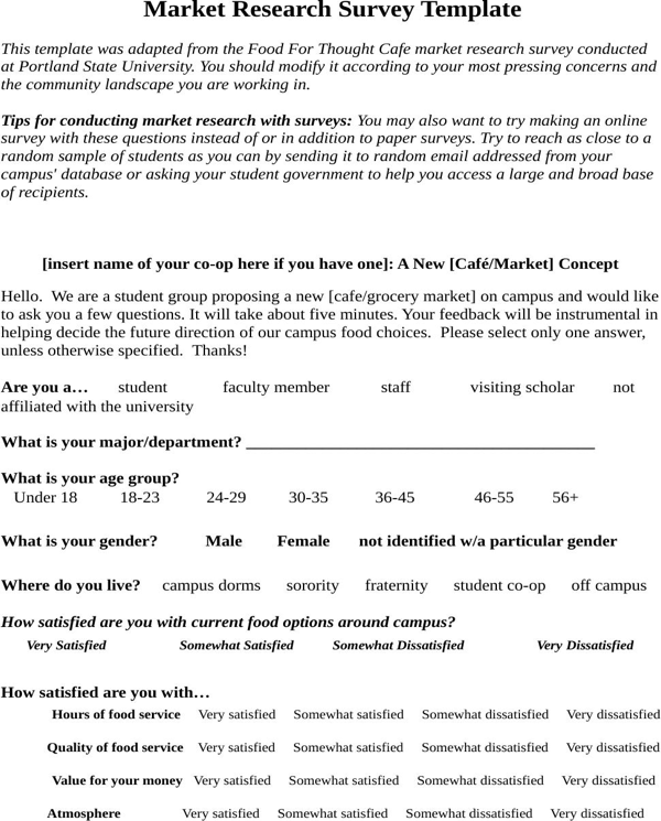 download market research survey sample for food for free