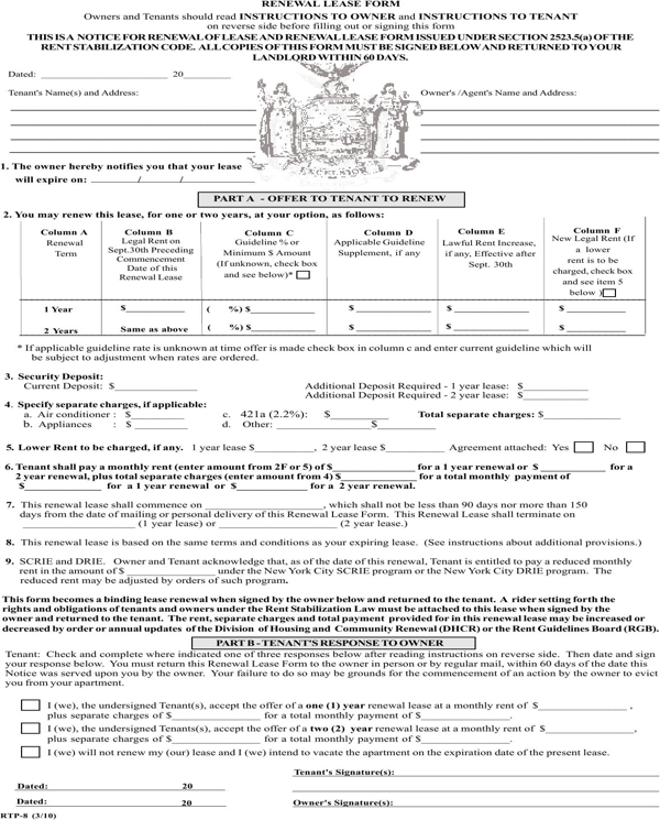 Download New York Renewal Lease Form For Free Formtemplate