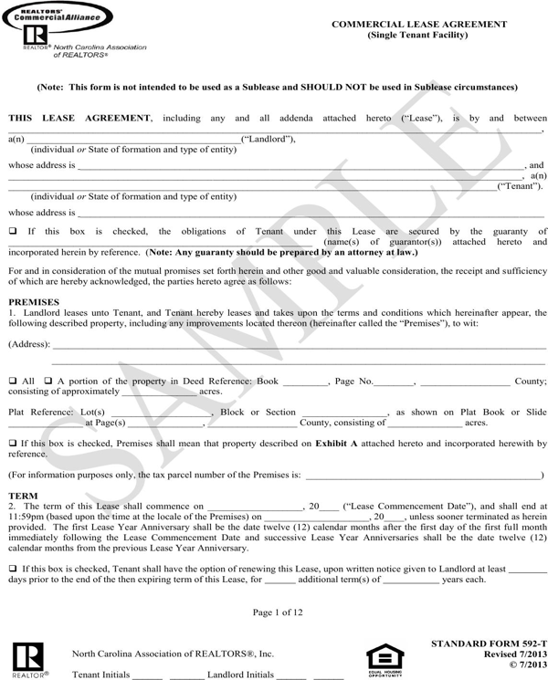 download north carolina commercial lease agreement sample