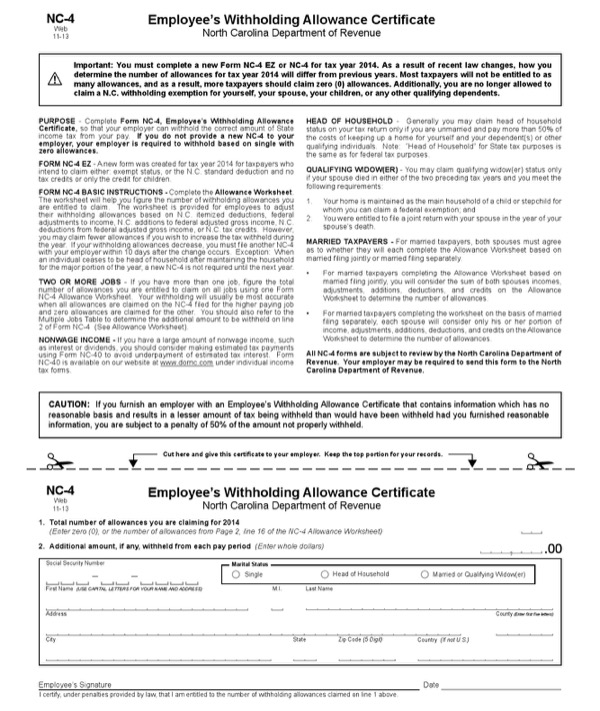download north carolina form nc-4 for free