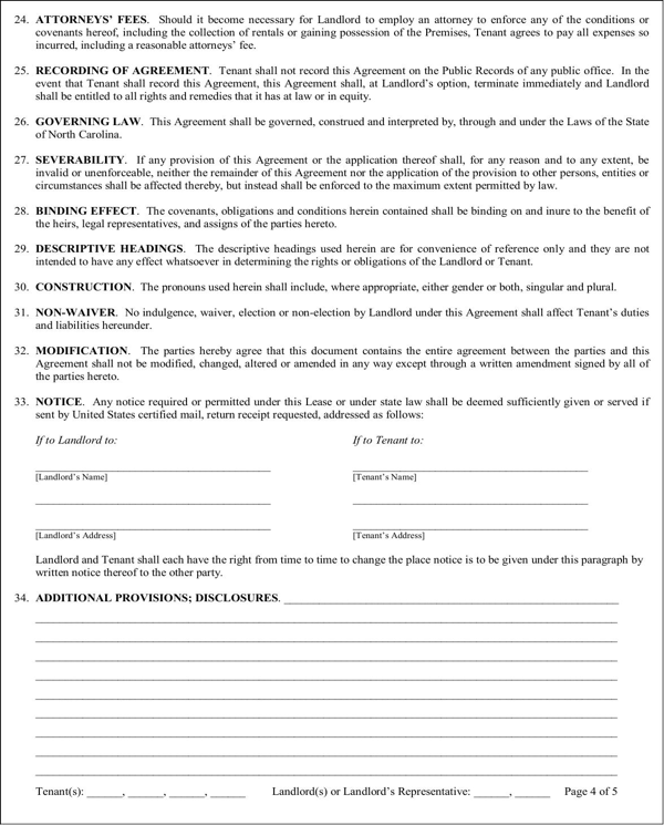 download north carolina residential lease agreement