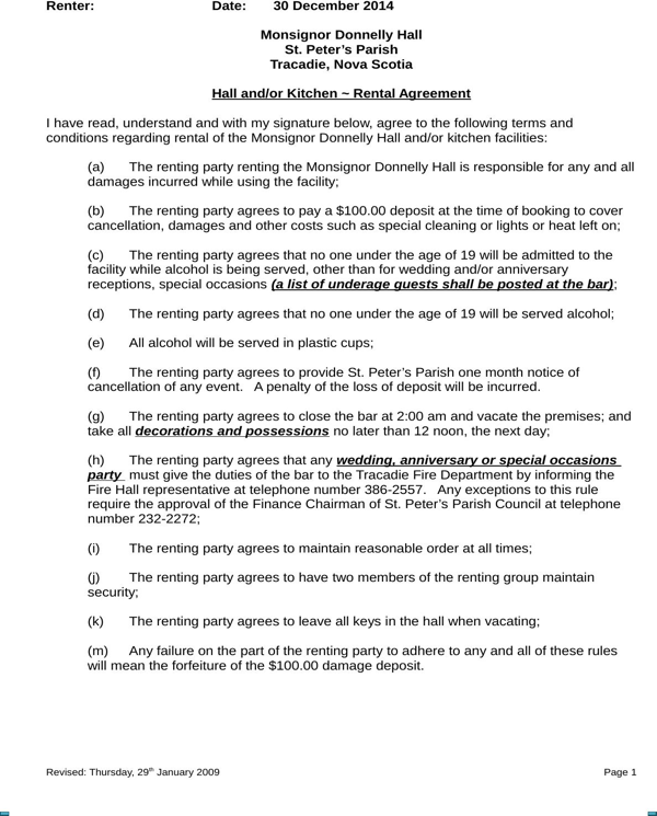 Download Nova Scotia Hall And Or Kitchen Rental Agreement