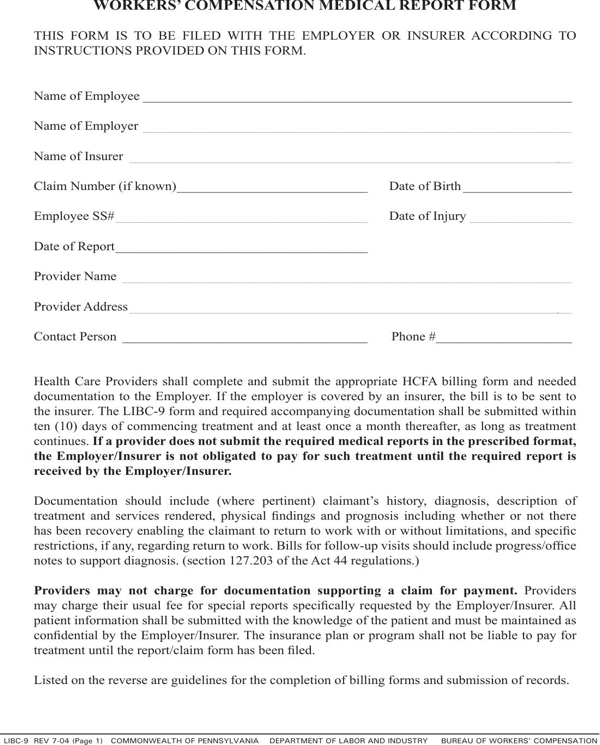 download pennsylvania workers compensation medical report
