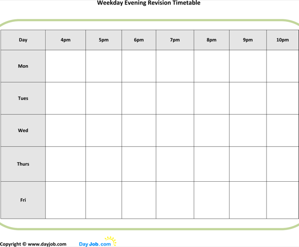 Download printable evening revision timetable template for for Blank revision timetable template