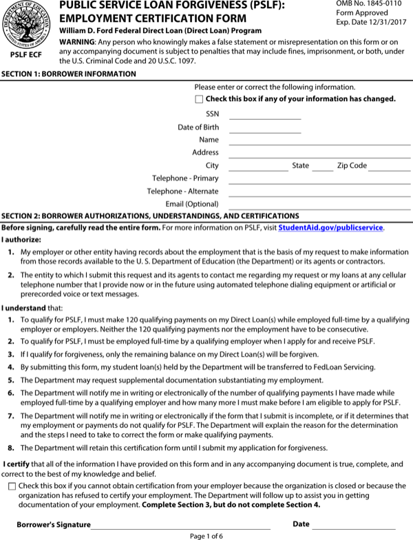 Public Service  Forgiveness Form | Download Public Service Loan Forgiveness Employment Certification