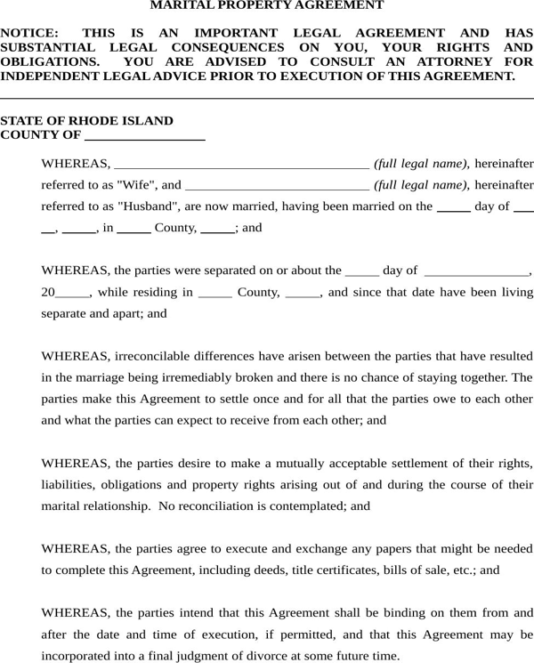 Download Rhode Island Marital Settlement Agreement Form For Free