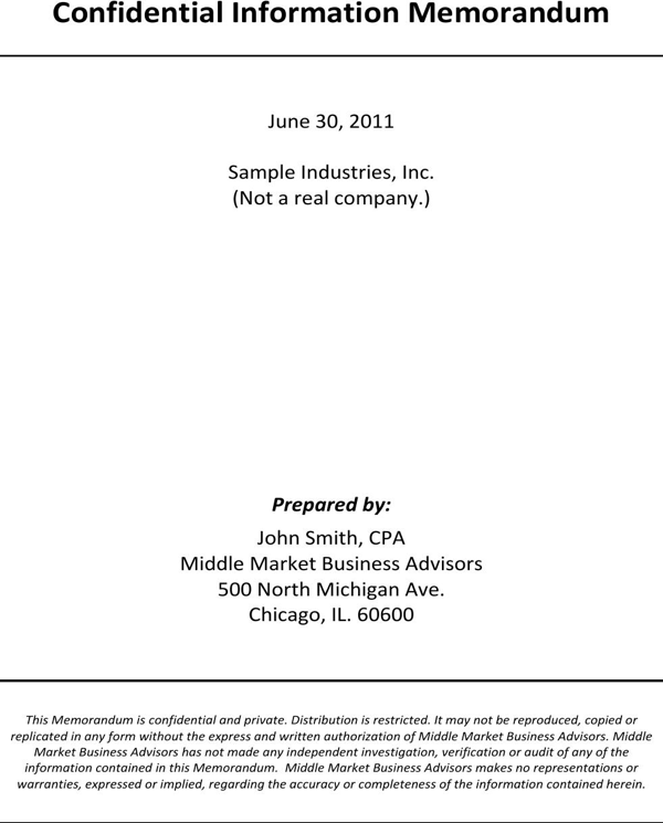 download sample confidential information memorandum