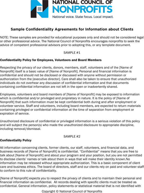 Sample Generic Client Confidentiality Agreement