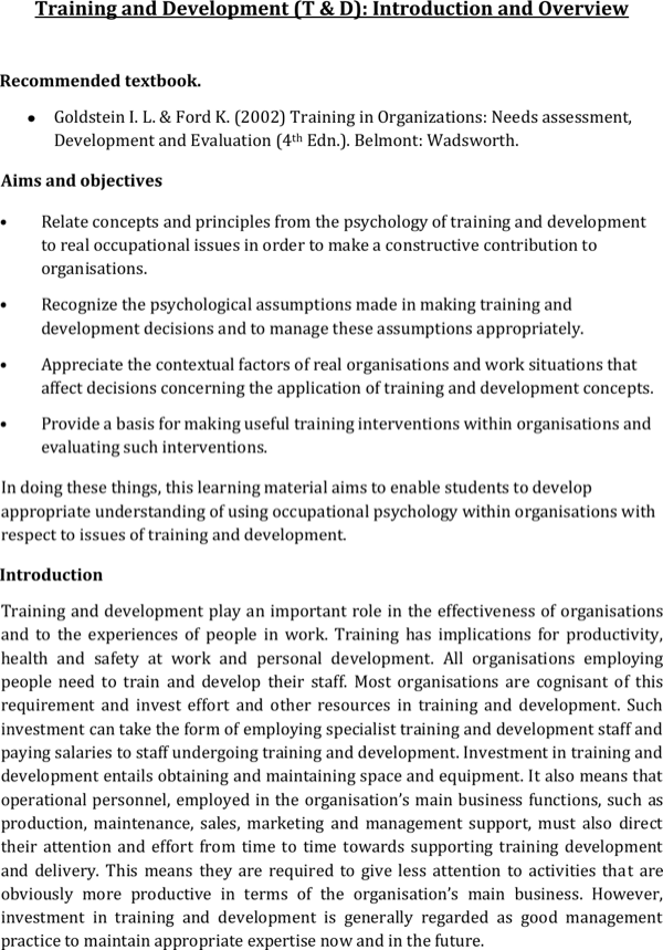 download training and development of employee write up