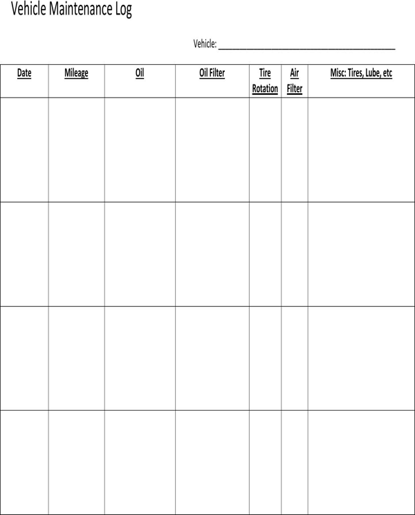 Vehicle log Template