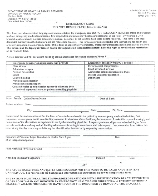 Download Wisconsin Do Not Resuscitate Form For Free