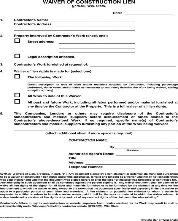 download wisconsin waiver of construction lien for free